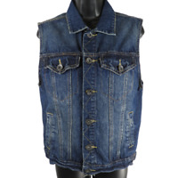 CARBON Dark Blue Denim Sleeveless Button Closure Jean Vest Jacket Women's Small