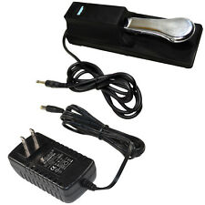 AC Adapter and Sustain Pedal for Casio CTK491 CTK541 CTK551 CTK574 CTK601 CTK671