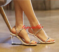 Stylish Peep Toe Sandals Women's Transparent Clear Heel Ankle Strap Summer Shoes