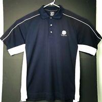 FootJoy FJ Golf Polo Shirt Athletic Fit Mens Large 100% Polyester Blue White