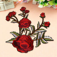 Big Rose Flower Embroidery Sew On Iron on Patch Badge Bag Fabric Applique Craft