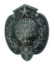 DISTINTIVO MUTILATO GUERRA 1915-18 UFFICIALE ARGENTO PUNZONATA COD.M087