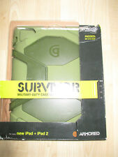 IPAD + IPAD 2 CARRY CASE SURVIVOR MILITARY HEAVY DUTY CASE WITH STAND