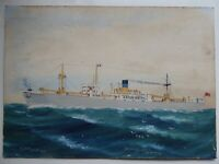 SS SEABOARD QUEEN ARTIST H CRANE SIGNED DATED 1949 VANCOUVER GOUACHE ON CARD M10