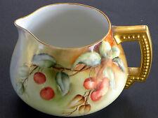 Antique Jean Pouyat Limoges Hand Painted Porcelain Lemonade Pitcher Cherries .
