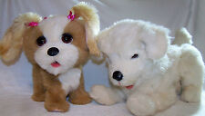 "Lot 2 FUR REAL Friends 12"" SCAMPS MY PLAYFUL PUP & Bouncy My Happy-To-See-Me Pup"