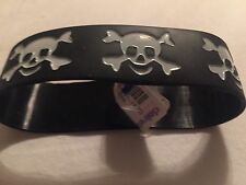 Claire's Black Rubber Halloween  Bracelet Accented With White Skulls