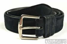 LORO PIANA Solid Black Suede Leather Silver Buckle Mens Luxury Dress Belt - 38