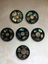 Vintage Retro Kitsch Paua New Zealand Coin Coasters Souvenir 1960s 1970s