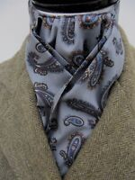 Ready Tied Grey & Navy Paisley Cotton Riding Stock - Event Hunting Showing