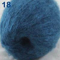 Sale 1ball DK MOHAIR 50% Angora goats Cashmere 50% silk Yarn Knitting Steel Blue