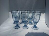 "6 Noritake Sweet Swirl Azure Blue Drinking Glasses 7.375"""