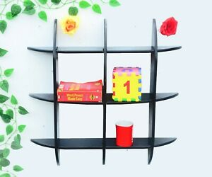 Indian Designer Indian Black Color Intersecting Wall Shelve A Set Of 3 Pcs