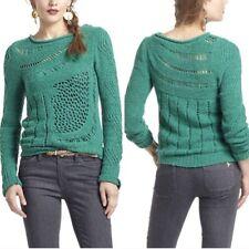 Anthropologie Moth Women's Green Slanted Openwork Pullover Sweater size Xs