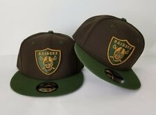 New Era NFL Oakland Raiders Shield Logo 9Fifty Snapback Hat Brown / Olive Green