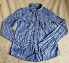 Women's Hollister Blu a Righe Camicia a maniche lunghe Taglia XS piccole