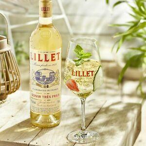 1 Flasche Lillet 0,75 Liter Blanc Aperitiv 17% Wein NEU + 2 Original Gläser Glas