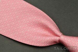 "HERMES 5332 TA Pink Diamond Geometric 100% Silk Mens Luxury Tie - 3.625"""