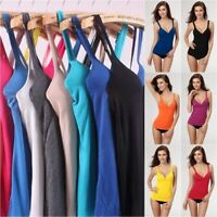 Womens V Neck Camisole Tank Tops Vest Ladies Padded Straps Push Up Built in Bra