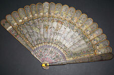 RARE ANTIQUE CHINESE SILVER LACQUER GROUND HAND PAINTED COURT SCENE BRISE FAN