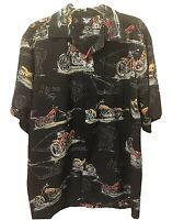 American Biker Mens XL Motorcycle Print Casual Button Down Shirt Short Sleeves
