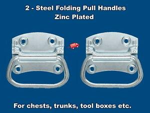 Trunk Chest Handles Flip Drop Folding  (1 Pair)  Zinc Plated Steel w/ Screws