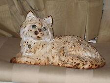 White Fireside Persian Cat Cast Iron Doorstop Marked Hubley --  Original Paint