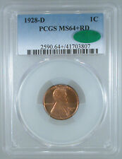 1928-D Lincoln Cent MS-64+ RD PCGS/CAC Certified