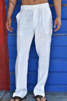 Mens Bohio 100% Linen White Casual Flat-Front Drawstring Pants (S ~ 3XL) MLP19