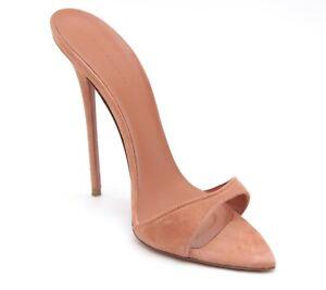 KATIE BILTOFT Suede Sandal Mule Heel Slide LUCRE Pink Open Peep Toe Sz 39