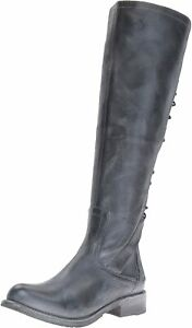 Womens Bed Stu Surrey Knee High Riding Boots - Black Rustic Blue, Size 6