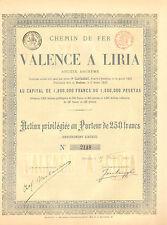 Chemin de Fer de Valencia a Liria SA, accion preferente, 1883