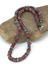 """Native American Navajo Sterling Silver Heishi Turquoise Coral Necklace 22"""" 1266"""