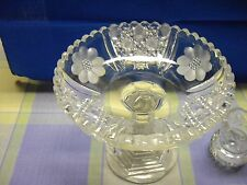 Cut Glass & Etched Compote with toothpick holder notched rims