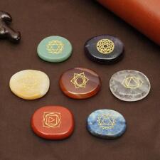 7Pcs/Set Engraved Spiritual Healing Meditation Palm Stones Reiki Chakra AU
