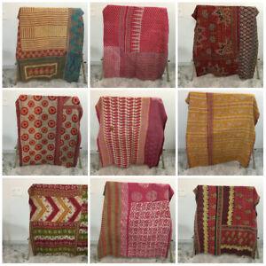 Vintage Kantha Blanket Bedspread Indian Handmade Quilt Throw Cotton Ralli Gudari