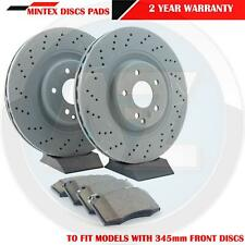 FOR MERCEDES C CLASS W203 S203 FRONT CROSS DRILLED BRAKE DISCS PADS KIT 345mm