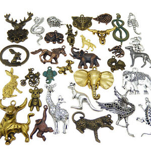 Lot of 20 Vintage Metal Alloy Animals Pendants Mixed Kinds Jewelry Findings DIY