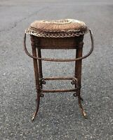 Antique Authentic Tagged Heywood Victorian Wicker Sewing Basket Floor Standing