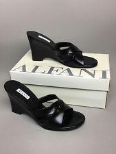 Alfani Jessica Wedge Shoes Womens Size 7 M Open Toe Black Leather Top NIB