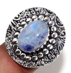 Rainbow Moonstone 925 Silver Plated Gemstone Handmade Ring us 8 Gift Jewelry GW