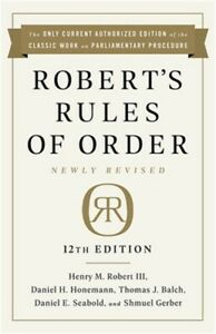 Robert's Rules of Order Newly Revised, 12th Edition (Paperback or Softback)