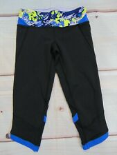 ivivva Girls Size 8 Crop Leggings Lululemon Black + Blue Cropped Pants
