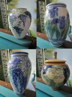 GOGAN PLASKET Salt Glazed Pottery BLUE BROWN COVERED URN - VASE - PICK 1