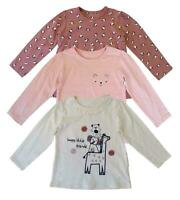 Nutmeg Girls Tops Long Sleeve Frilly 3X PACK Baby Toddler Happy Friends Casual