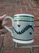 Mochaware Repro 18Th C Cats Paw Mug Cup Grey Earthworm Catseye Green Incised Rim
