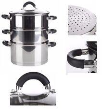 3 niveau 24 cm Steamer Set Food légume vapeur Pot Ensemble Avec Couvercle en Verre Cuisson Pot Nouveau