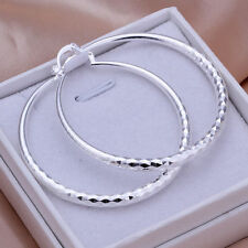 925 Silver Fashion Twinkle Big Round Hoop Dangle Earrings Gift Woman Jewellery