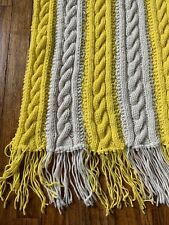 Crochet Yarn Granny Afghan Blanket Throw YELLOW CREAM CABLE KNIT 50x38 + Fringe