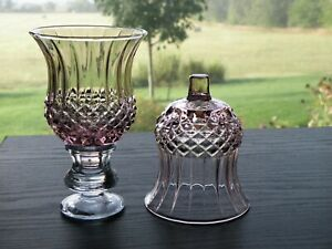 2 HOMCO Home Interiors Pink Lilac Cathedral Diamond Votive Cup Candle Holders